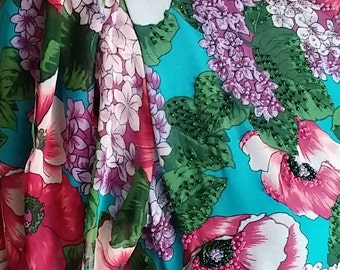 Vintage, 1970's, 1980's, Diane Fres, Chiffon, Floral, Beaded, Dress