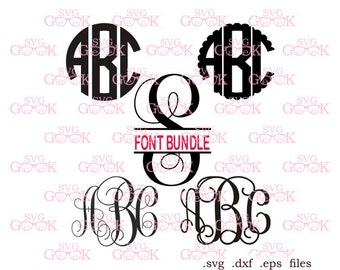 Font Bundle SVG cut files, Digital Font svg, Monogram Font SVG cut files for Cricut Silhouette Brother US Cutter