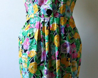 Green yellow floral dress and pink Vintage 80s