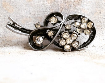 WWII Era Gunmetal Rhinestone Pin
