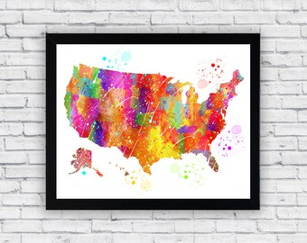 United States Map Watercolor printable, United States Map Printable Wall Art, United States Map wall art, United States Map poster