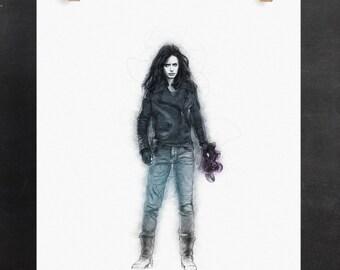 Jessica Jones Art Print: P.I. (Marvel Inspired Superhero Digital Pencil Sketch)
