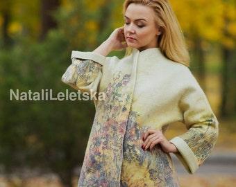 Felted coat  Woman coat Nuno felting Felted coat Wool coat Merino coat Coat handmade Coat with print
