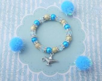 Lamp Charm Bracelet, Genie Jewelry, Crystal Bracelet, Boho Kids Jewelry, Turquoise And Gold, Arabian Bracelet, Sparkly Jewellery, Girls Gift