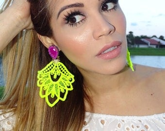 Neon Chandelier Earrings, Trendy earrings, Lace Earrings, Long Earrings, Dangle Earrings Handmade Earrings, Big Earrings, Funky Earrings,