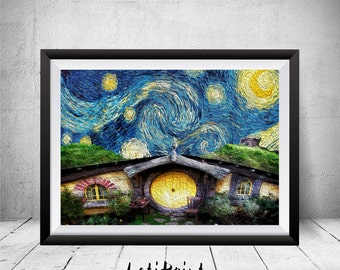 Hobbit Starry Night Print, Hobbit Wall Art Decor, Lord Of The Rings Art, Printable Art, The Lord Of The Rings, The Hobbit Houses, Van Gogh