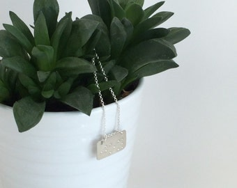 "braille ""joy"" sterling silver pendant with sterling silver chain"