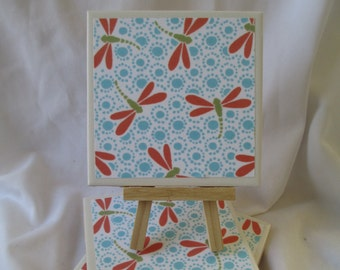 Dragonfly Ceramic Tile Coasters Set of 4, handmade, Drink Coasters, hostess gift, barware, Home Decor, DragonFlies, coral coasters