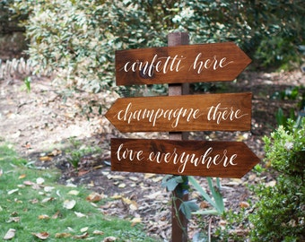Rustic Wedding Directional Signs. Confetti Here, Champagne There, Love Everywhere. Fun Wedding Signs. Set of 3.
