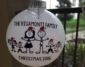 Family Christmas Ornament - Personalized Christmas Ornament - Glitter Christmas Ornament - Custom Ornament - Family Ornament- Christmas Gift