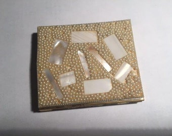 Beaded/Mother of Pearl Antique Compact