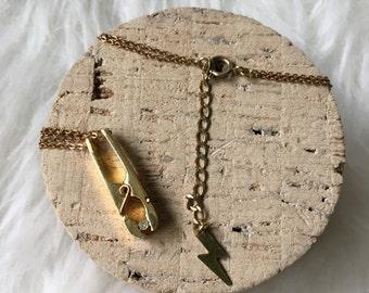 ROACH CLIP // Raw Brass Necklace