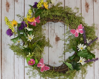 Spring Fling Wreath in Pink and Purple