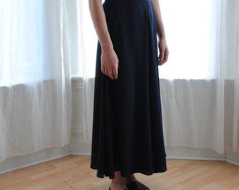 Vintage Wrap Long Skirt - Navy