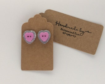 Sparkly pink heart silver glitter button earrings