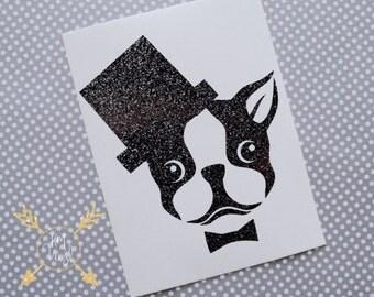 Boston Terrier with Bowtie Glitter Vinyl Decal