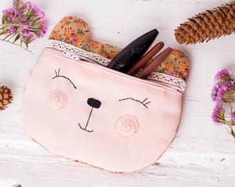 Kids purse Coin purse Kids make up Makeup pouch Handmade purses Kids coin purse Zipped pouch Teen purse Gifts for teen girls Kids gift Bear
