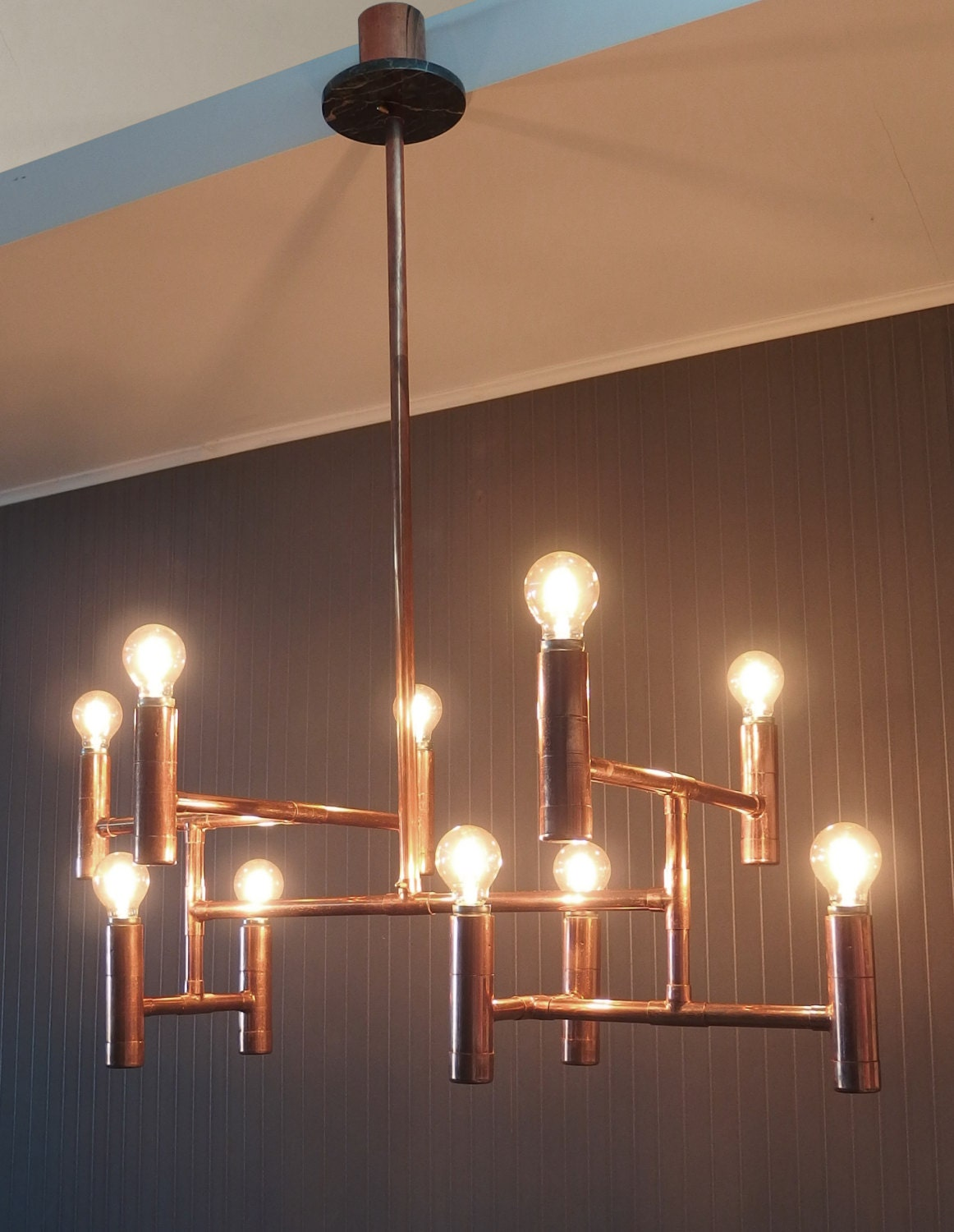 Vintage industrial copper pipe chandelier elegant dining - Ceiling lights and chandeliers ...