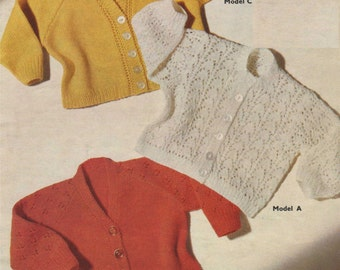 Baby Cardigan PDF Knitting Pattern : Babies 21 inch chest . 3 Designs . Boy or Girl . Lacy . V-neck . Lacy Sleeves . Digital Download