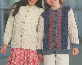 Boys or Girls Cardigan PDF Knitting Pattern : Childrens 20, 22, 24, 26, 28 and 30 inch chest . 51, 56, 61, 66, 71 and 76 cm
