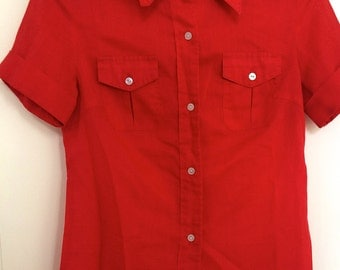 Size 38 short-sleeved 1970's red blouse