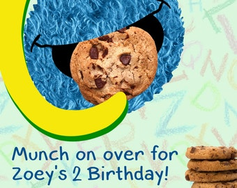 Cookie Monster Birthday Invitation