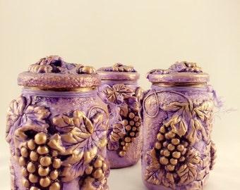 Set of three jars, Decorating bank, Bank, home decor, glass, art, decorative art, hand made