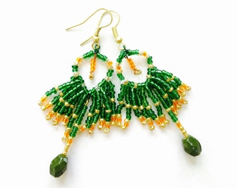 Multi-layer Dangling Drop Earrings ~ Beaded Earrings ~ Chandelier Earrings ~ St. Patty's Day Earrings