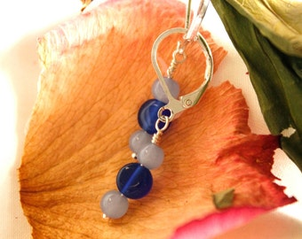 Blue and Powder Blue Glass Handmade Bead Earrings