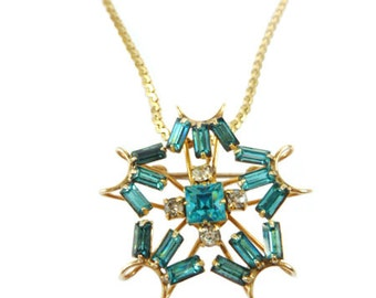 Vintage Gold-filled Star Brooch Pendant Necklace, Jewelry 1940s Mid-century, 12K GF Aqua Rhinestone, P&F Starburst Atomic, Gold Chain