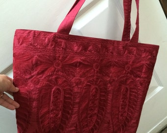 Embroidered bag from repurposed dress