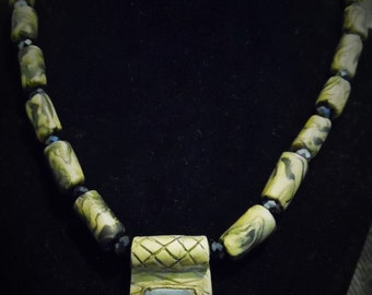 Polymer clay and Glass Pendant Necklace