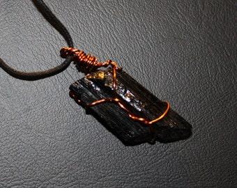 Black Tourmaline Wrapped Copper Necklace