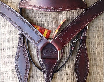 Hilason Leather Headstall Breast Collar Set Barbed Wire Tooling Dark Brown
