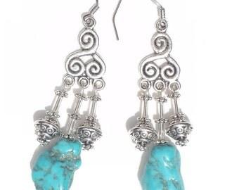 Funky Chunky Genuine Turquois Earrings