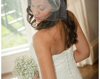 Birdcage veil with diamante and beads