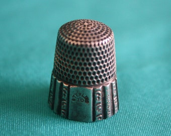 Antique Simmons Thimble Marked Sterling 10 Pat. May 28, 89 Crown inside top Free Shipping