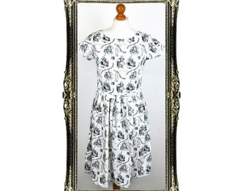 Vintage Inspired Retro Alice in Wonderland Print Tea Dress