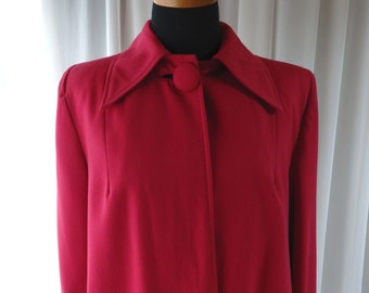 1940s cherry red pink coat / 40s  gabardine wool rayon coat/ red pink swing coat small