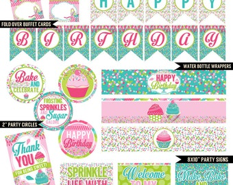 Cupcake Cutie Digital Printable Girls Sprinkles Baking Birthday Party Printables Package INSTANT DOWNLOAD