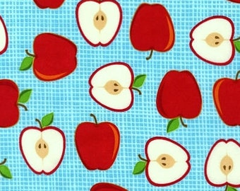 "BTHY - Metro Market Apples in Summer by Amy Biggers for Robert Kaufman, AYS-13055-193, 1 1/2"" apples and apples slices on aqua cotton fabric"