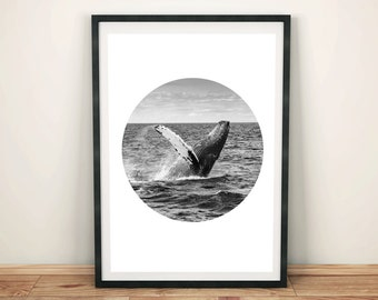 Whale Art, Whale Print, Printable Art, Whale Photography,Black and White Photography, Whale Tail, Downloadable Photography, Whale Ocean