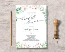 Botanical Floral Bridal Shower Invitation Printable, watercolor flowers bridal shower invite, instant download editable pdf, wreath branch