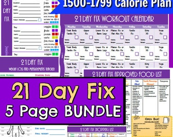 21 day fix printables 1500 1799 5 page pdf bundle pack day planner