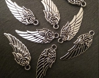 8 x Pretty Antique Silver Tone Angel Wing and Rose Pendants / Charms