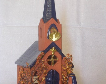Large Steeple in Terra Cotta & Cobalt Blue