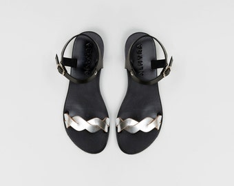 Braided handmade leather sandals in black and silver by Almyra