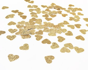 Gold Heart Confetti 5/8 Inch / Bridal Shower Table Scatter / Engagement Party / Wedding / Bachelorette / Dessert Table / Baby Shower