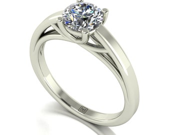 Solitaire Cushion Cut Moissanite Engagement Ring in 9 Carat White Gold