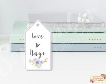 Printable Gift Tags, Digital Gift Tags, Love & Hugs Gift Tags, Digital Download Gift Tags, Wedding Favor Tags, Gift Label, Custom Gift Tags
